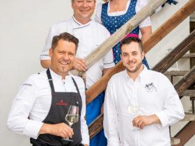 Forellenwirt in Mitterbach | Karlheinz Pernausl mit Inhaberin Doris Kastler, TV-Koch Mike Süßer und Kevin Kern.